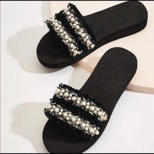 Pearl Tweed Slides
